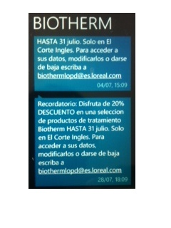 Biotherm's text messages